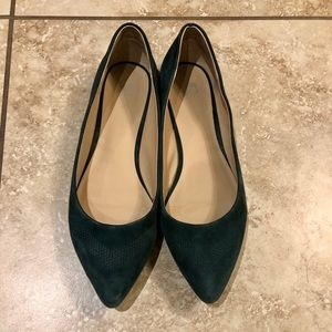 Suede Emerald Green Flats